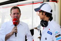 Martin Brundle, Sky Sports Commentator with Esteban Gutierrez, Sauber Third Driver