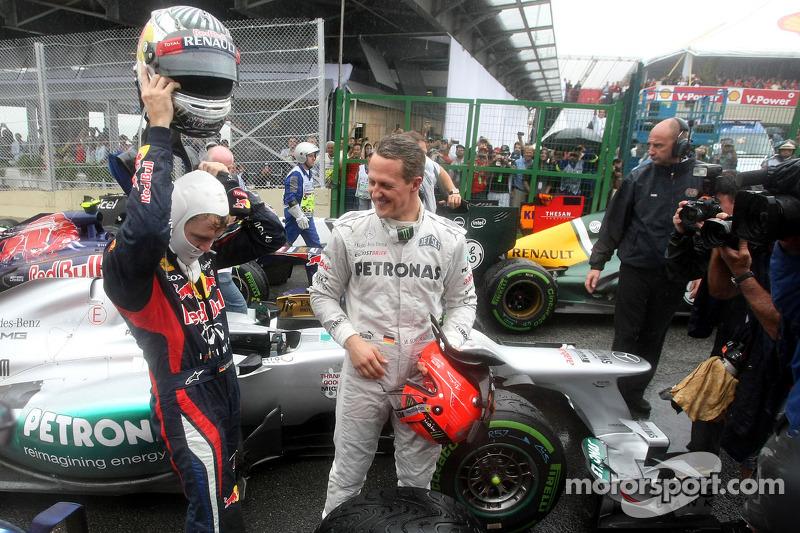 Sebastian Vettel, Red Bull Racing en Michael Schumacher, Mercedes GP