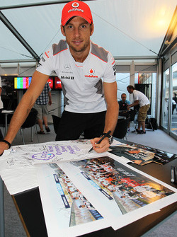 Jenson Button, McLaren Mercedes, logos memorabilia for Great Ormond Street Hospital charity