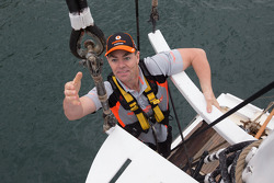 Craig Lowndes competes in a Holden vs Ford challenge