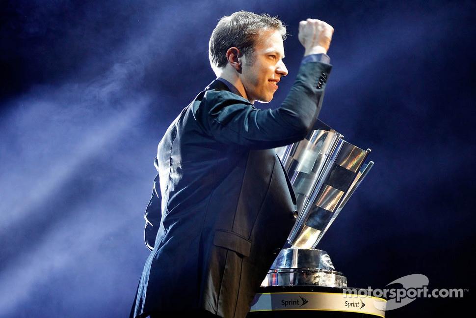 Brad Keselowski celebrates his championship