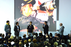 Sebastian Vettel and Mark Webber, Red Bull Racing on stage with David Coulthard, Adrian Newey and Christian Horner