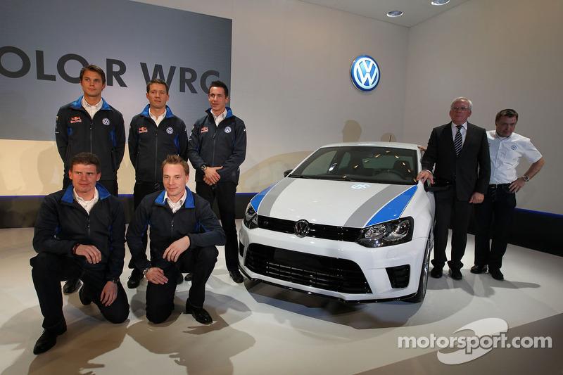 Яри-Матти Латвала, Микка Антила, Андреас Миккельсен, Себастьен Ожье и Жюльен Инграссиа. Презентация Volkswagen Polo R WRC, презентация.