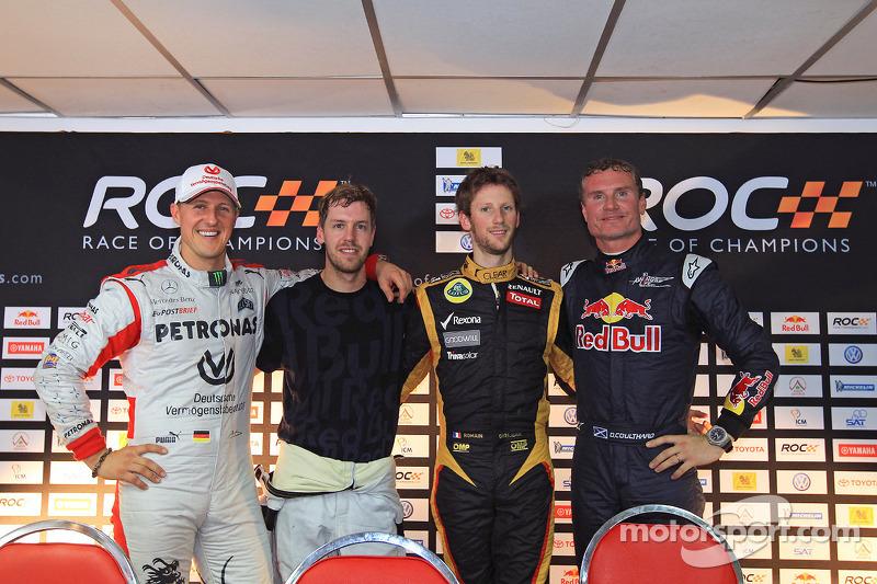Michael Schumacher, Sebastian Vettel, Romain Grosjean and David Coulthard