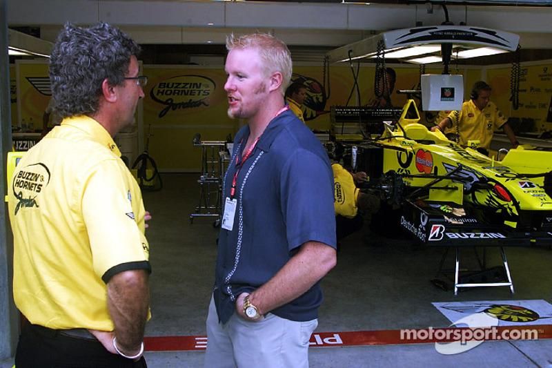 Paul Tracy visits with Eddie Jordan