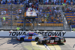 Ryan Preece, Joe Gibbs Racing Toyotadrives under the checkered flag to win