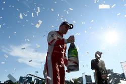 Robin Frijns, Amlin Andretti Formula E Team, celebrates on the podium