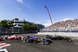 Jean-Eric Vergne, Techeetah, leads Sam Bird, DS Virgin Racing, and Nick Heidfeld, Mahindra Racing