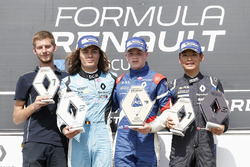 Podium: winner Robert Shwartzman, second place Max Defourny, third place Yifei Ye