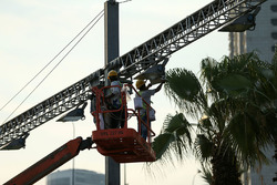 Workers and lights
