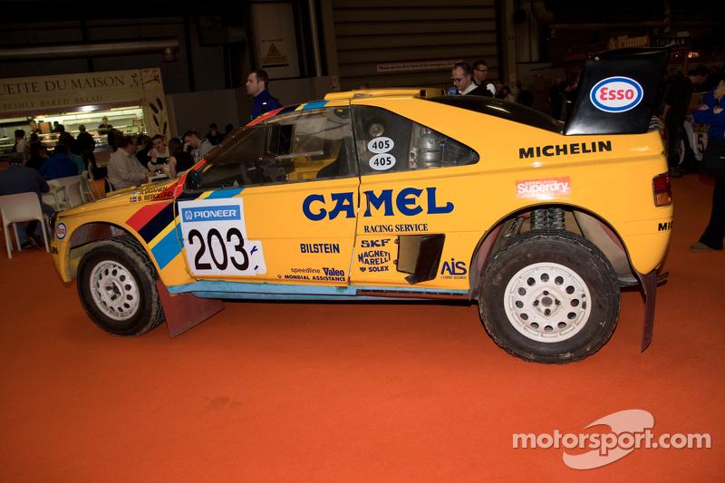 peugeot dakar rally car at autosport international show, birmingham