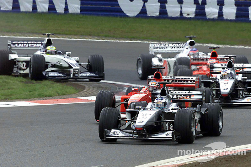 Mika Hakkinen leads at the start