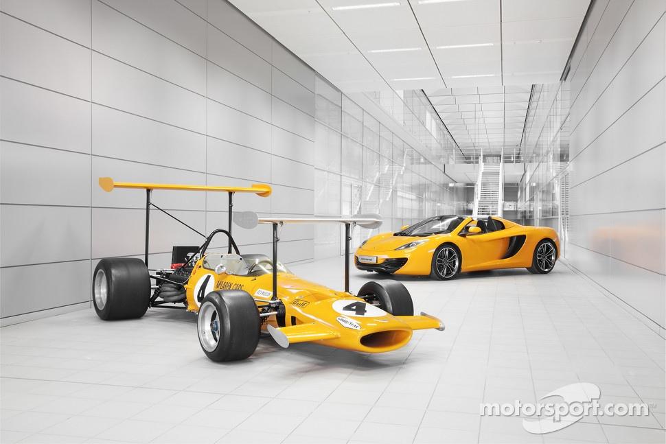 The 1969 McLaren M7C and the McLaren MP4-12C Spider