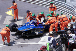 The crashed Prost Peugeot of Nick Heidfeld