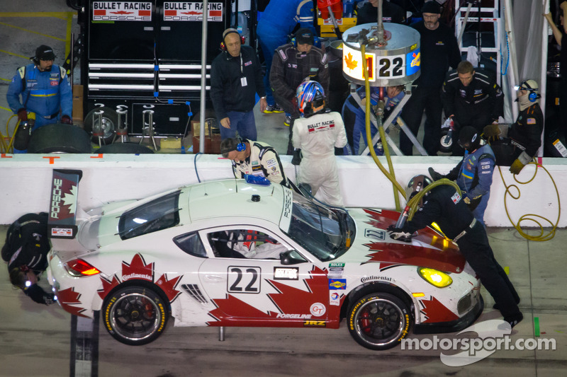 Pit stop for #22 Bullet Racing Porsche Cayman: James Clay, Darryl O'Young, Daniel Rogers, Seth Thomas, Karl Thomson