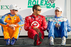 DP victory lane: class and overall winners Charlie Kimball, Juan Pablo Montoya and Memo Rojas