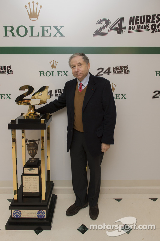 Jean Todt, FIA president with the 24 Hours of Le Mans trophy