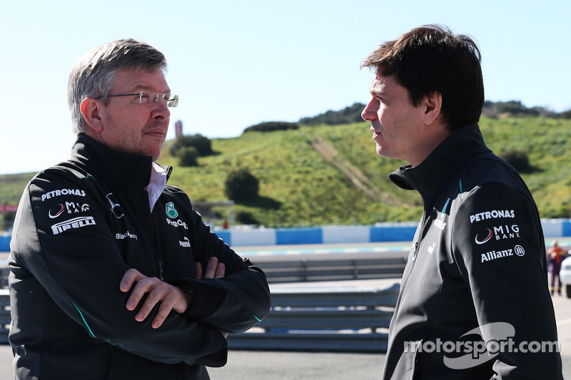 Ross Brawn, Mercedes AMG F1 Team Principal with Toto Wolff, Mercedes AMG F1 Shareholder and Executiv