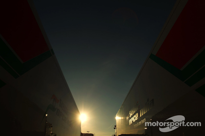 Sahara Force India F1 Team trucks in the sunset