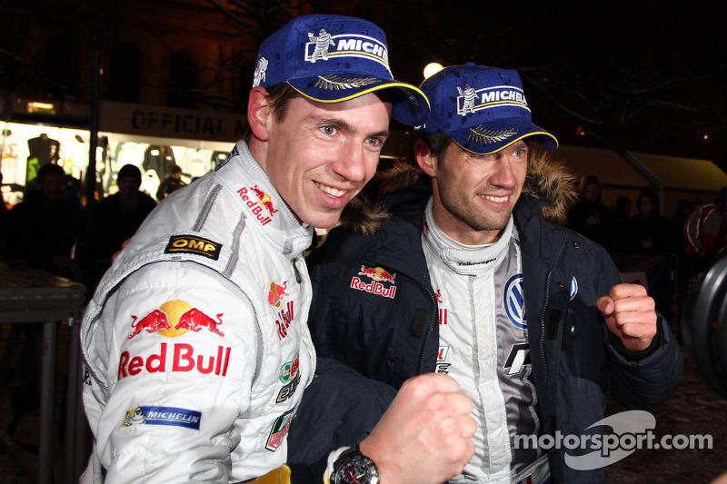 Winners Sébastien Ogier and Julien Ingrassia, Volkswagen Polo WRC, Volkswagen Motorsport celebrate