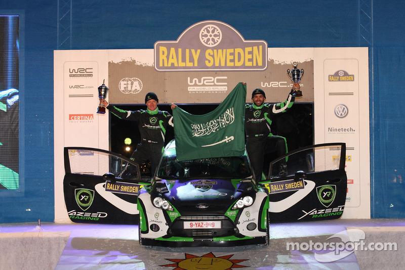 Podium: Yazeed Al Rajhi and Mathieu Baumel, Ford Fiesta S2000