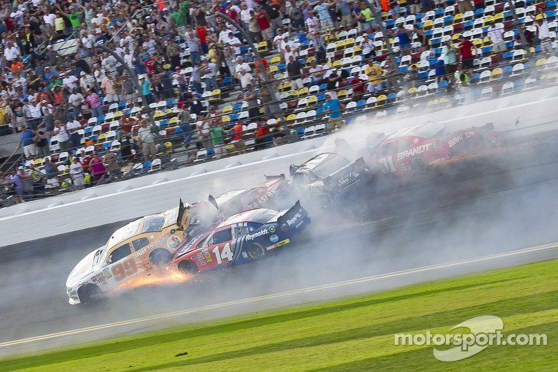 Last lap crash: Alex Bowman and Eric McClure crash with several others