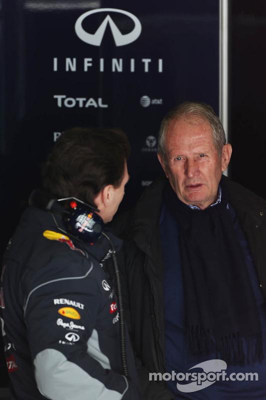 Christian Horner, Chefe de equipe da Red Bull Racing, com o Dr. Helmut Marko, Consultor da Red Bull Motorsport