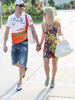 Adrian Sutil, Sahara Force India F1 with his girlfriend