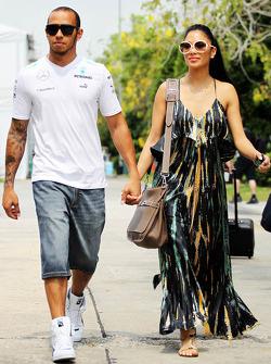 Lewis Hamilton, Mercedes AMG F1 with his girlfriend Nicole Scherzinger, Singer