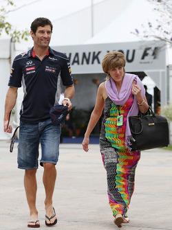 Mark Webber, Red Bull Racing with partner Ann Neal
