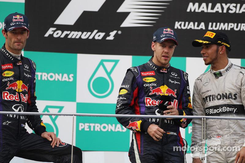 2013 : 1. Sebastian Vettel, 2. Mark Webber, 3. Lewis Hamilton