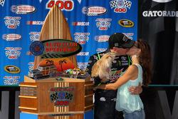 Victory lane: race winner Kyle Busch and Samantha Busch