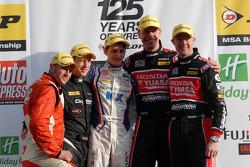 Round 3 podium: J.S.T. (Provisional) Lea Wood, 3rd Sam Tordoff, 2nd Gordon Shedden, 1st Matt Neal