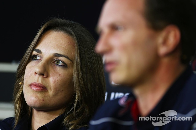 Claire Williams, Adjunct-teambaas Williams en Christian Horner, Teambaas Red Bull Racing bij de FIA-