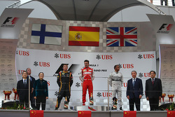1st place Fernando Alonso, Ferrari, 2nd place Kimi Raikkonen, Lotus F1 Team and 3rd place Lewis Hamilton, Mercedes AMG F1