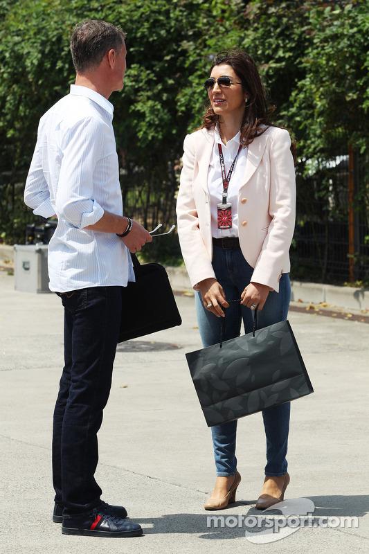 David Coulthard, da Red Bull Racing e comentarista da BBC, com Paul di Resta, Sahara Force India F1