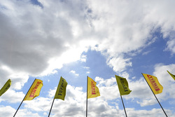 Pirelli and Ferrari flags