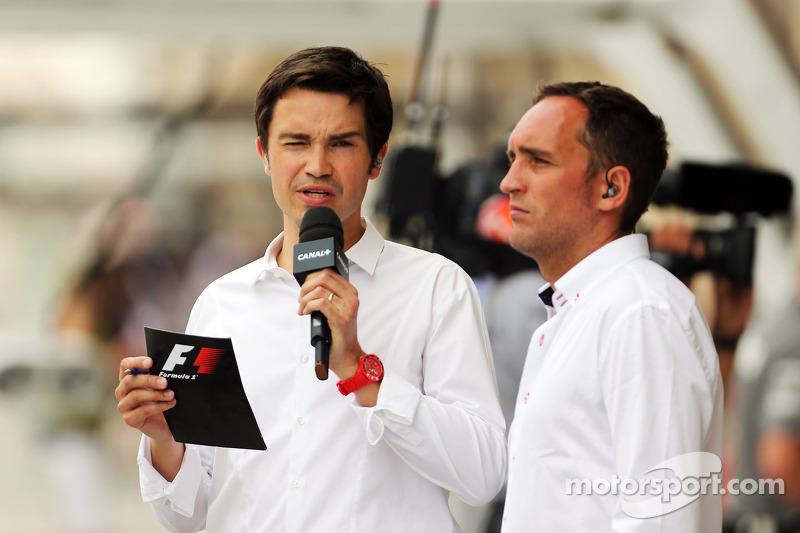 (L naar R): Thomas Senecal, Canal+ F1 Chief Editor en TV-presentator met Franck Montagny, Canal+-pre