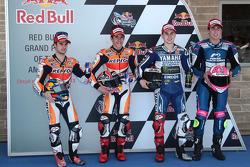 Polesitter Marc Marquez, second place Dani Pedrosa, third place Jorge Lorenzo, top CRT rider Aleix Espargaro