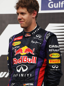 Race winner Sebastian Vettel, Red Bull Racing on the podium