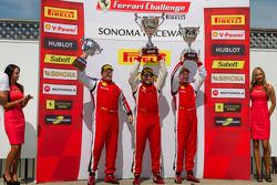 458 TP podium: first place Carlos Kauffmann, second place Mark McKenzie, third place Emmanuel Anassis