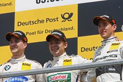 Podium, Dirk Werner, BMW Team Schnitzer BMW M3 DTM, Augusto Farfus, BMW Team RBM BMW M3 DTM and Christian Vietoris, Mercedes AMG DTM-Team HWA DTM Mercedes AMG C-Coupé