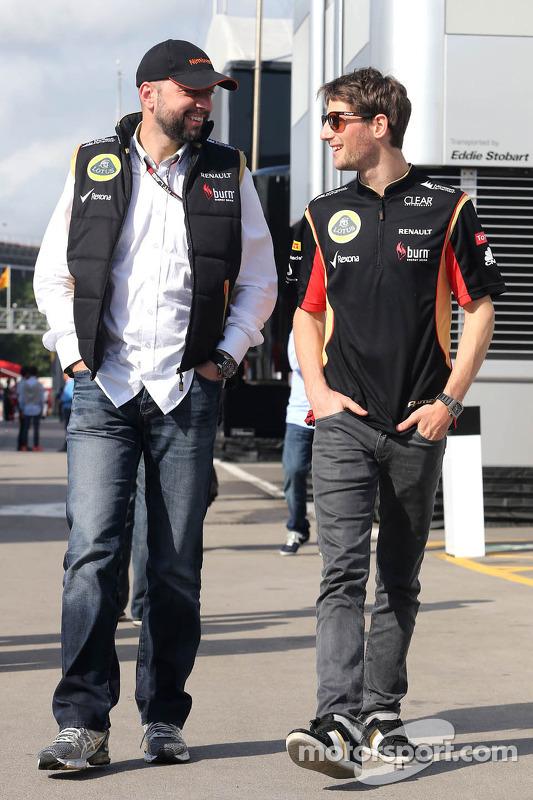 Gerard Lopez, Proprietário da Lotus Renault GP e Romain Grosjean, Lotus F1 Team