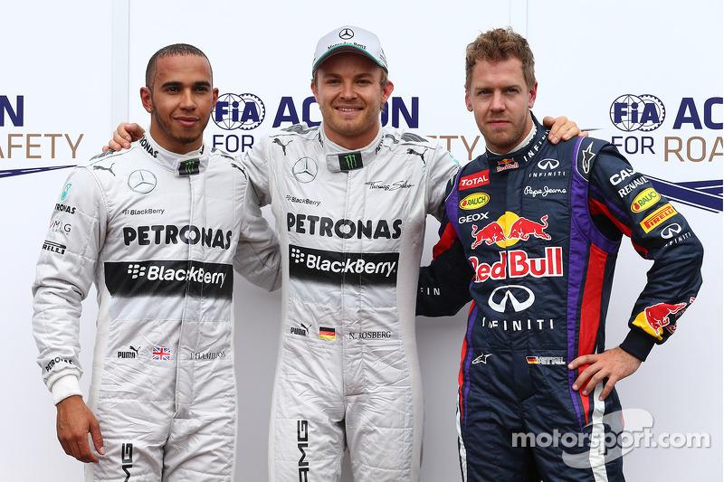 Pole: Nico Rosberg, Mercedes AMG F1 W04 2nd Lewis Hamilton, Mercedes AMG F1 ve 3rd Sebastian Vettel,