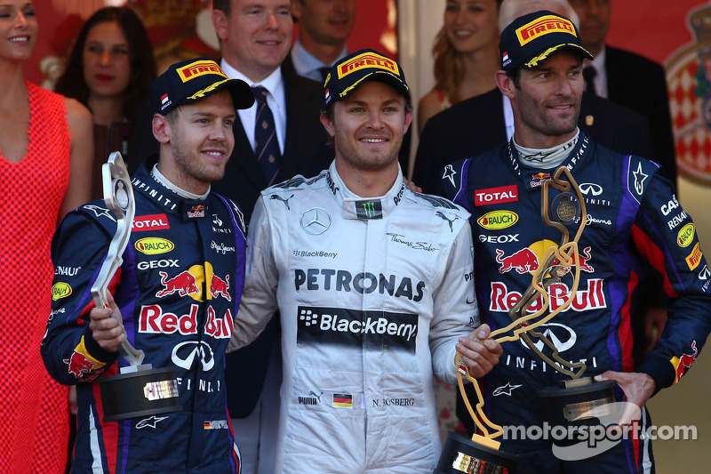 1st place Nico Rosberg, Mercedes AMG F1 W04, 2nd place Sebastian Vettel, Red Bull Racing and 3rd Mar