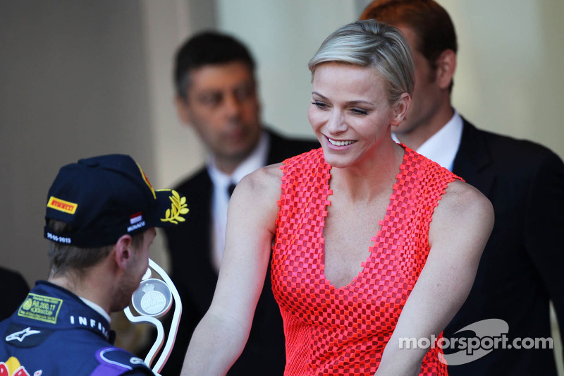 Sebastian Vettel, Red Bull Racing celebrates his second position on the podium with Princess Charlen