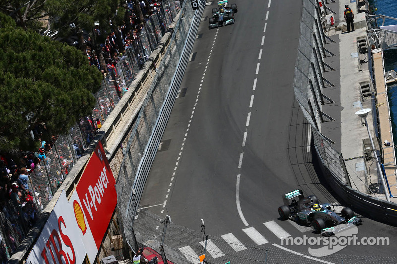 Nico Rosberg, Mercedes AMG F1 W04 leads team mate Lewis Hamilton, Mercedes AMG F1 W04