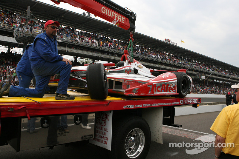 Damaged car of Sebastian Bourdais, Dragon Racing Chevrolet