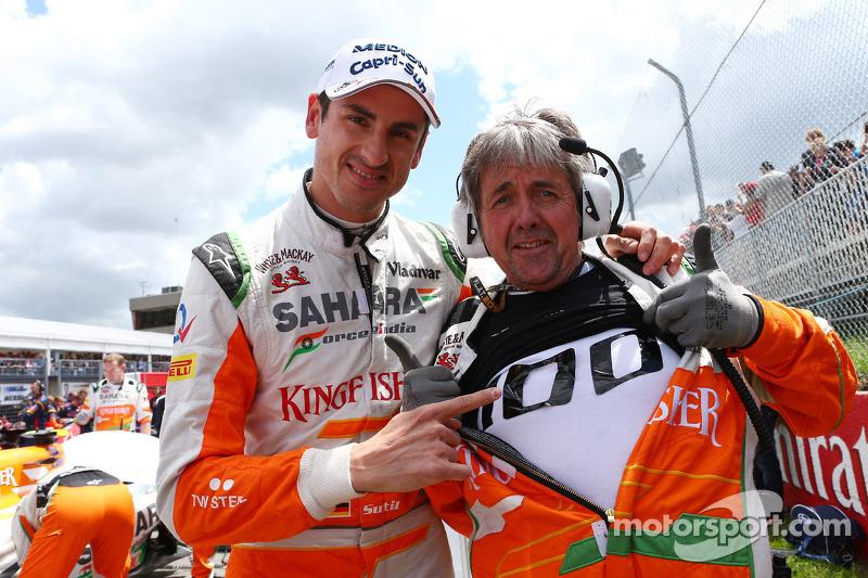 Adrian Sutil en Neil Dickie, Sahara Force India F1 Team vieren de 100e GP van Sahara Force India F1