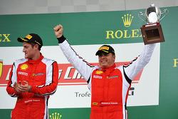 Trofeo Pirelli podium: winner Onofrio Triarsi, third place Emmanuel Anassis